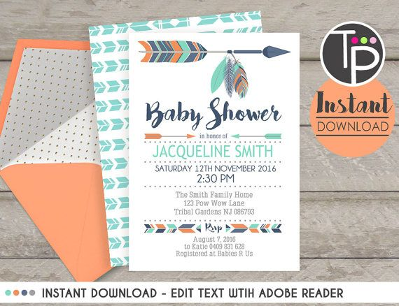 17 best images about tribal baby shower on pinterest | feathers, Baby shower invitations