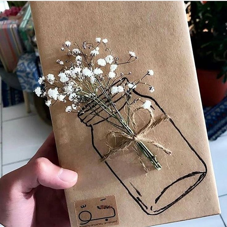 Kraft paper wrap, mason jar stamp or sketch