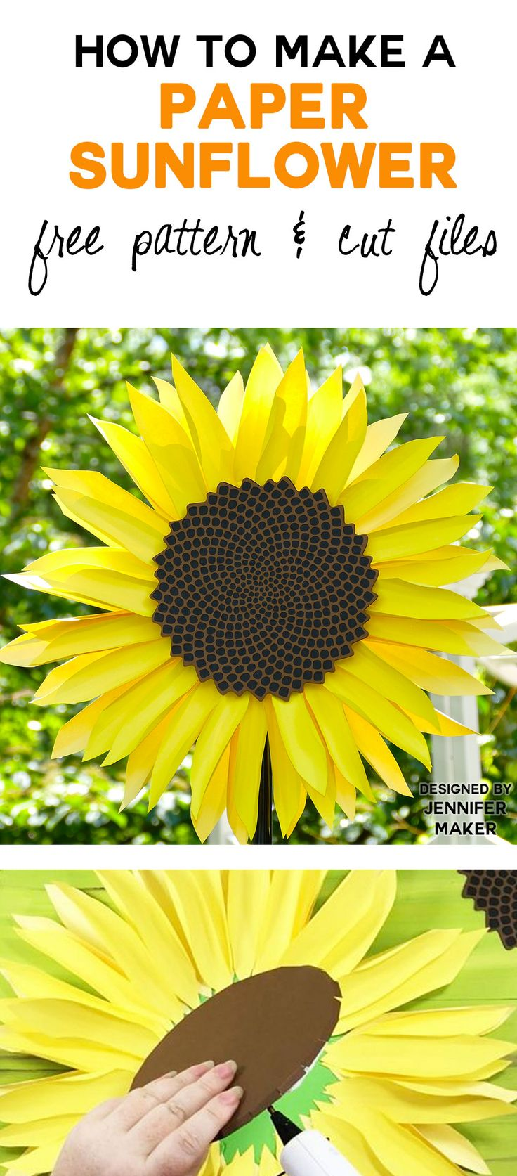 Wow! Make this paper sunflower with realistic petals and seed head. Free pattern and SVG files.