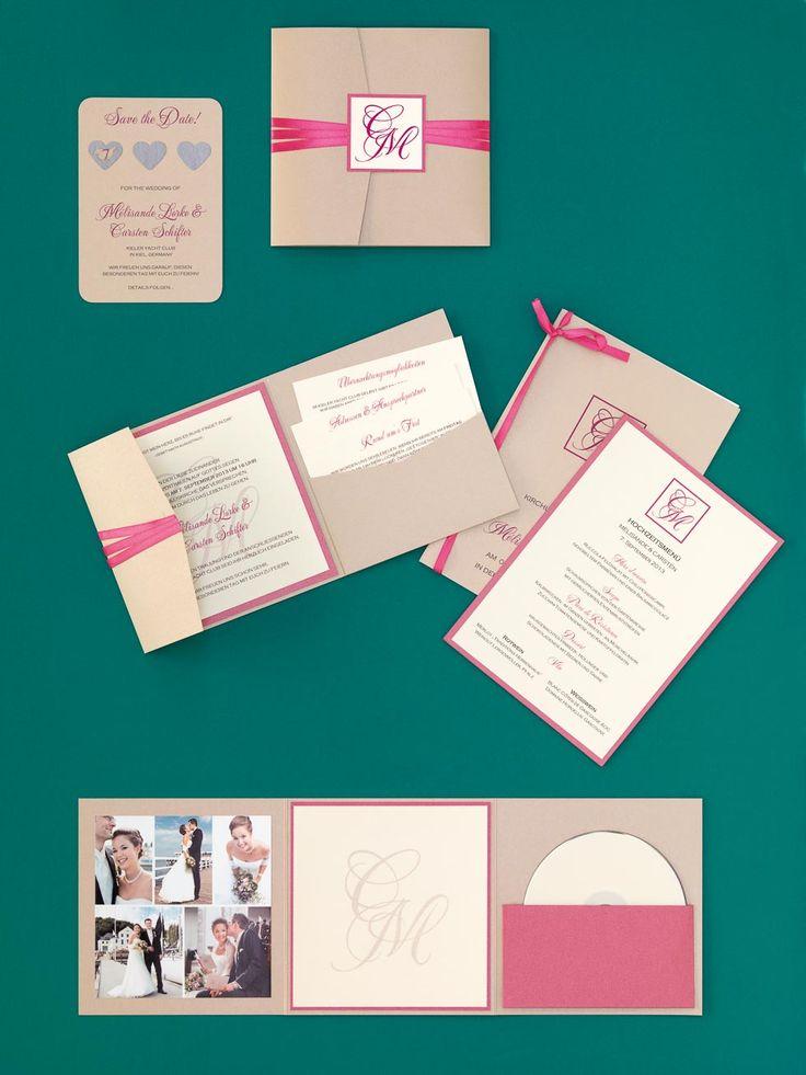Natürlich-edle Kartenserie in Hellbraun und Pink mit Monogramm und Pocketfold-Einladung von printsonalities bei www.weddingstyle.de