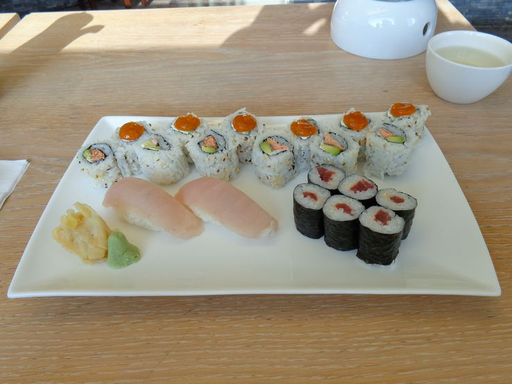 White tuna nigiri, Spicy Tuna Maki (yellow fin tuna, spicy sauce), Philadelphia Gold Maki (surimi, avocado, creme fraiche, apricot mustard, sesame) and Smoked Maki (smoked salmon, avocado, wasabi mayonnaise, sesame @ Restaurant Kado Sushi