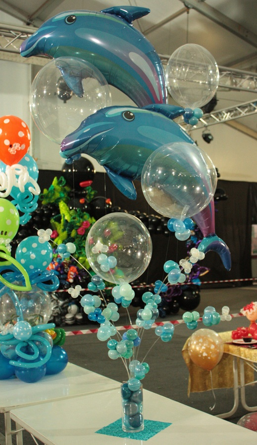 Dolphin centerpiece! Great for a child's birthday party or a bon voyage sendoff!