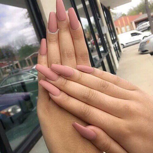 matte pink coffin shaped nails