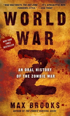 World War Z by Max Brooks. I read this book and thought it was amazing. It has a different style to it, a reporter goes around interviewing people's account of the zombie apocalypse.