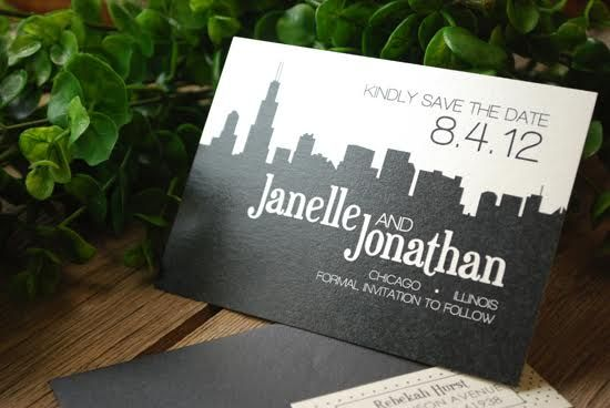 How cool is this Save the Date? We adore the elegant use of the skyline and simplicity of the colors. Want to see more? Check out our blog!