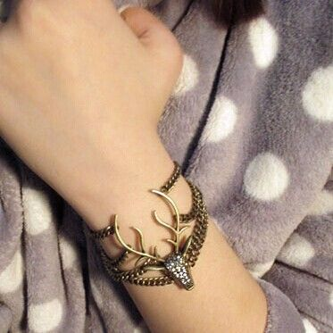Punk Women Men Crystal Vintage Deer Head Bangle Bracelet Multilayer Chain + Full Drill deer head pendant