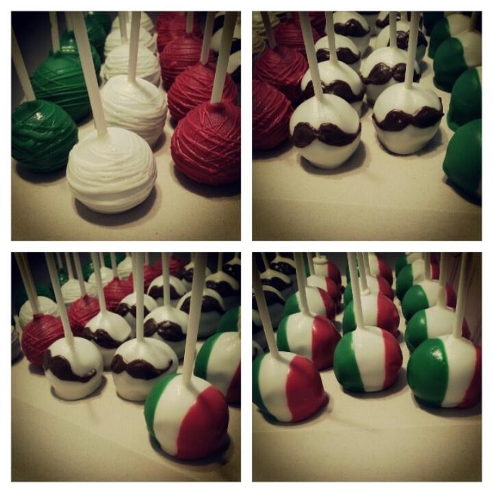 Italian.  Cake balls. Cake pops. Mustaches. Pizzeria birthday party.