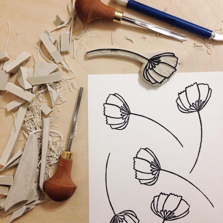 Sunday Blossoming 🌼🌷🌸 (13/100) #100HandCarvedStamps #MayFlowers #patterndesign #blockprinting #100HandCarvedblocks #100PrintedPatterns #linocut #linocutstamp #linocutting #printmaking #blockprinted #patterndesign