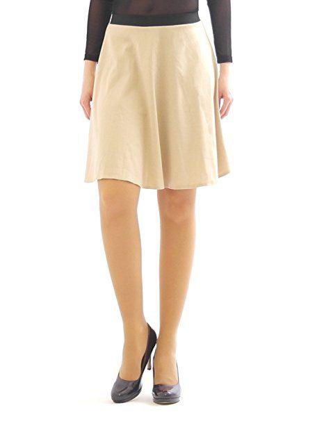Swing Rock Midi Falten-Rock Gummibund hohe Taille Skirt Midirock beige L-XL