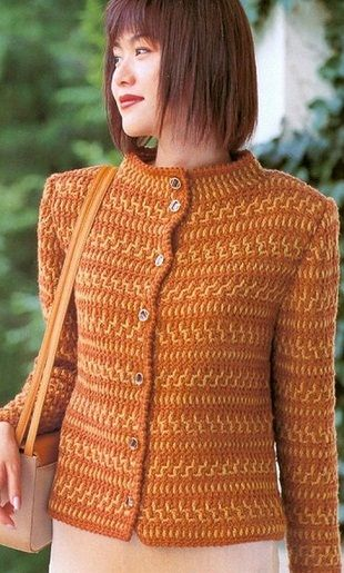 Short crocheted jacket with all the diagrams