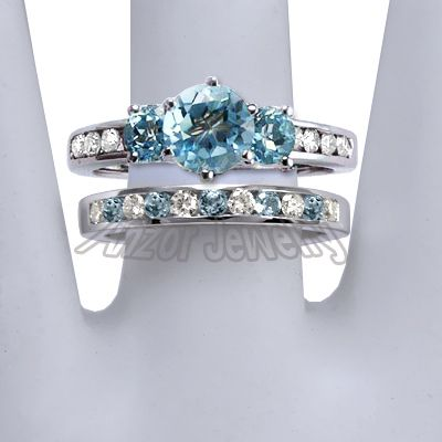 wedding ring sets mystic topaz | ... - 14k Solid White Gold Blue Topaz and Diamond Engagement Ring Set