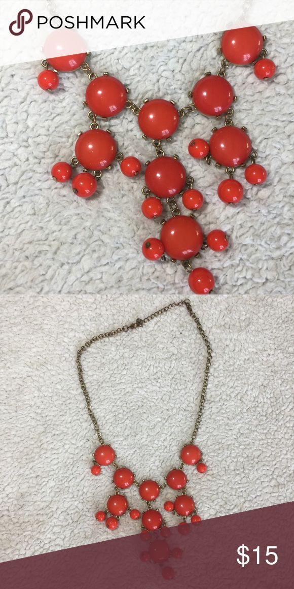 Red bubble necklace Red bubble statement necklace, antique gold chain with lobster clasp Jewelry Necklaces