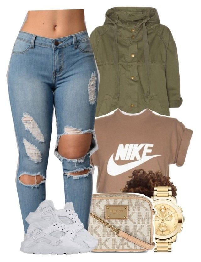 """""""5/3/16"""" by yasnikki ❤ liked on Polyvore featuring Current/Elliott, NIKE, Movado and MICHAEL Michael Kors"""