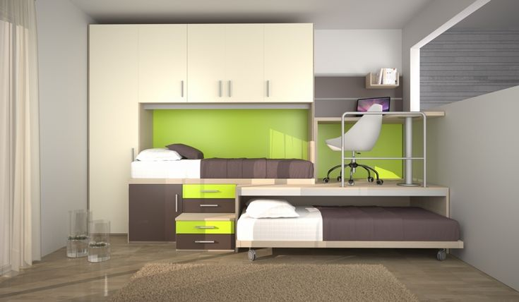 BADROOM - centri camerette specializzati in camere e camerette per ragazzi - cameretta con letti a soppalco e armadio a ponte