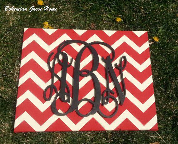 Black Painted Wooden Script Monogram on Red and White Chevron Canvas, Black Vine Monogram, Monogram Decor, 3 Letter Monogram