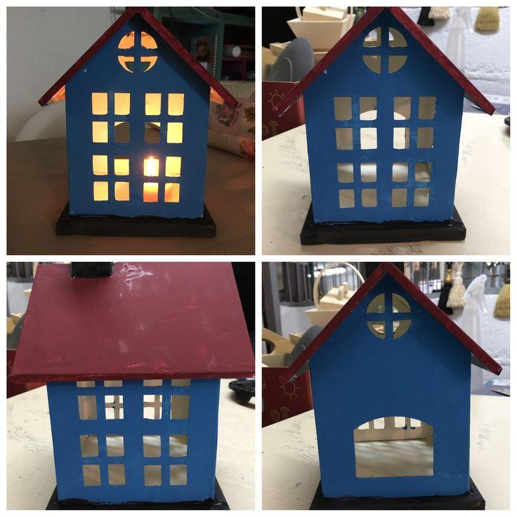 Lite hus malt med Chalk Paint (tm) fargene Giverny og Burgundy fra www.lavelykke.no