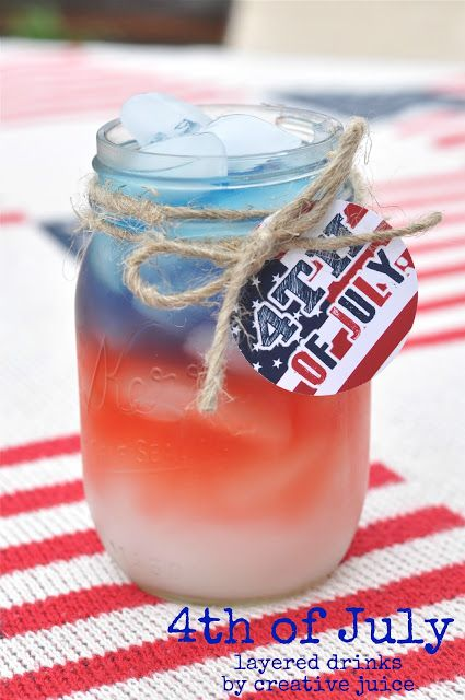 How to make layered drinks for the 4th of july - Tutorial