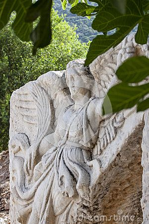 Stone Carving of the Greek Goddess Nike, in the antique greek, later roman, city of Ephesus - in the actual Turkey, near Izmir