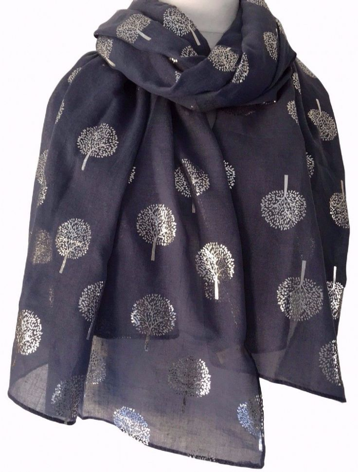 A large dark blue scarf with a silver tone tree print long wide and very soft Measurements approx 70 inch 175 cm in length approx 37 inch 92 cm wide