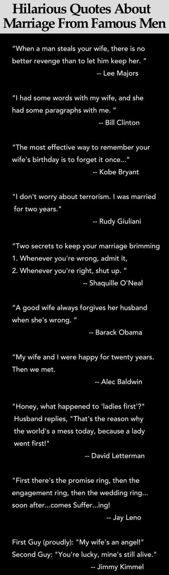 Hilarious Quotes About Marriage From Famous Men funny jokes story lol funny quote funny quotes funny sayings joke hilarious humor stories marriage humor funny jokes