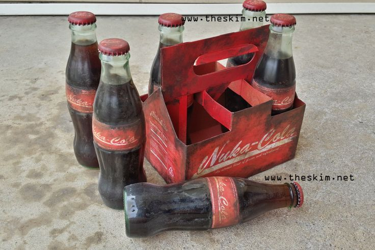 Fallout Nuka-Cola Glass Bottle 6-pack Soda w/ Custom Carrier! Unique Wasteland Display Piece, Cosplay Accessory Prop, Fall Out Gift   Made this sweet Nuka carrier 6-pack for a badass chick who is throwing a Fallout 4 release party for her friends and wanted to provide them all with a Nuka. Talk about an awesome friend!!! :D