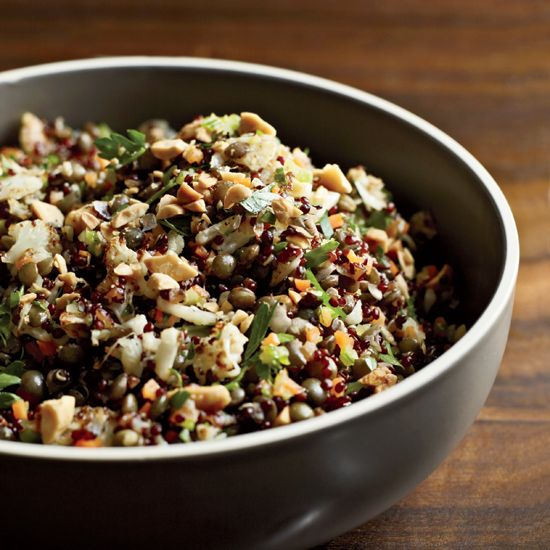 Red Quinoa and Lentil Pilaf | This cauliflower-flecked pilaf is a fantastic, healthy meal in one dish. Chopped Marcona almonds add a super crunch; coconut oil, an unexpected tropical flavor.