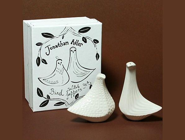 Jonathan Adler makes Salt & Pepper Shakers with movers and shakers in mind. Perfectly practical pieces that are a little more clever than your standard ceramic spice servers. So pretty they can be mistaken for a sculpture. Presented in a cute printed card gift box, each set is crafted from high-fired stoneware with a matte glaze.