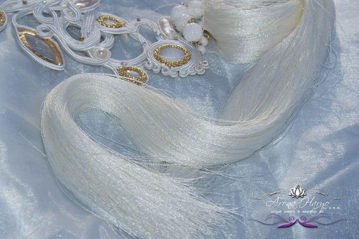 the Angel with One Wing necklace  Metamorphosis Collection 2015  Details   http://www.facebook.com/haryodesign #aronaharyo #beadartist #beadart #artdeco #beading #fairie #fairies #love #handmade #hautecouture #holidaygifts #gifts #soutacheaccesories #embroidery #wearableart