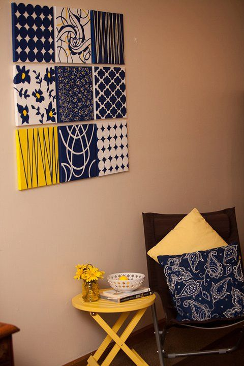 9 pc collage Navy Yellow Wall Art Canvas by Chocolatepolkadots, $270.00