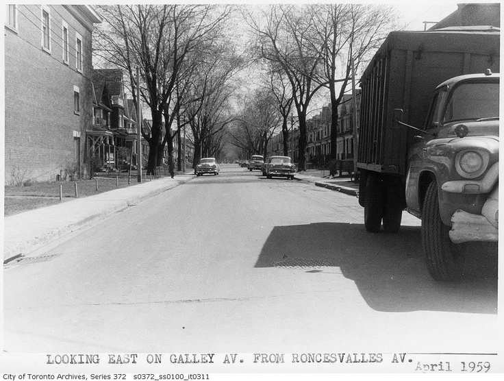 Galley Avenue, Toronto, looking east from Roncesvalles. April, 1959