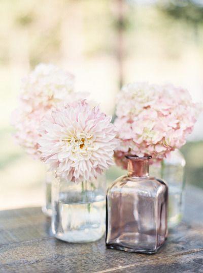 Blush dahlias and hydrangeas: http://www.stylemepretty.com/montana-weddings/2015/05/22/a-romantic-outdoor-wedding-in-montana/ | Photography: Orange Photographie - http://orangephotographie.com/