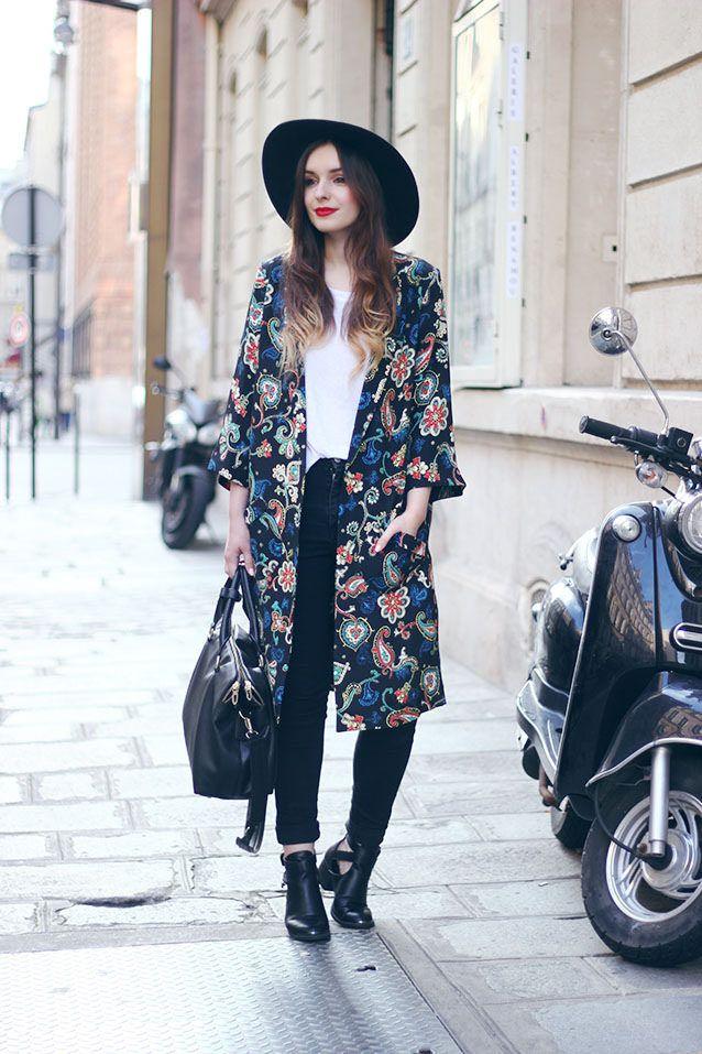 Resultado de imagen para kimono and boots outfit