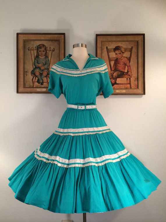 1950s Plus Size Turquoise Patio Squaw Dress Wih By AwwwShucks, $85.00