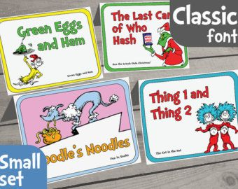 Dr. Seuss Food Labels Small Set of 14 for by AmpersandCreations