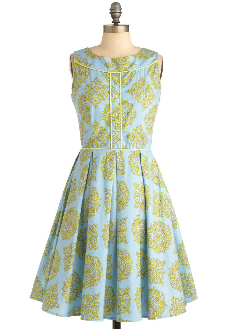 Made the Grade Dress - Long, Print, Buttons, Pleats, Sleeveless, Vintage Inspired, Yellow, Blue, Daytime Party, Cotton, Fit & Flare, Pastel, Top Rated, Graduation