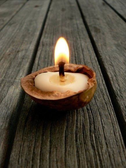 Cute! Make a candle out of a walnut shell