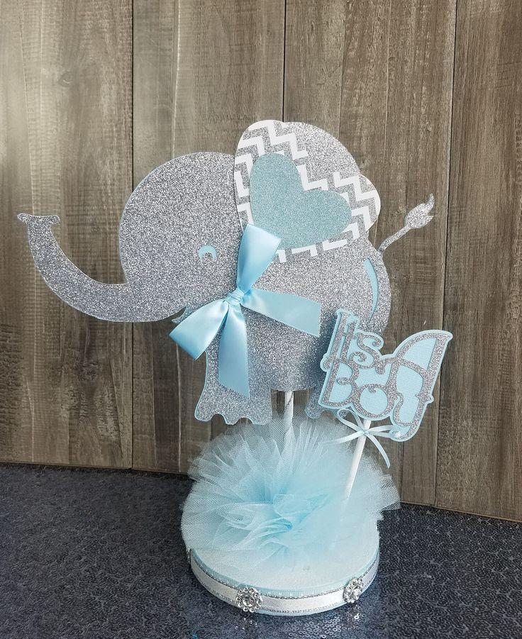 Elefant-Baby-Dusche-Herzstück / junge Elefant-Baby-Dusche / junge Baby-Dusche / junge Elefant-Deko / es ist ein junge Mittelstücke / Elefant-Thema-Dekor  – Té Yu