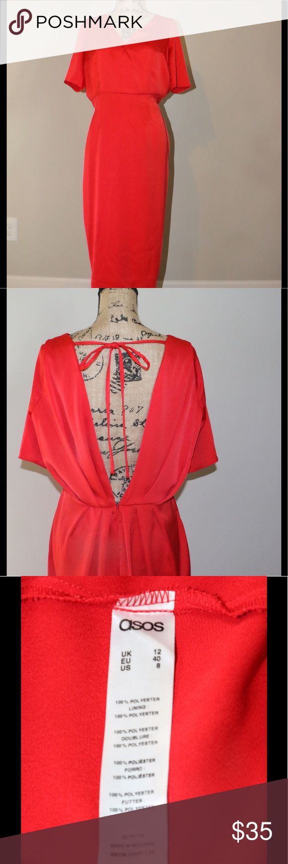 ASOS Red dress sz 8 ASOS red dress , deep V back , sz 8   100%  polyester excellent condition ASOS Dresses