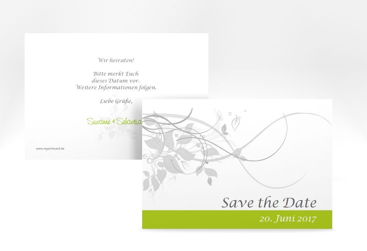 """Save the Date-Karte Hochzeit """"Florenz"""" A6 Karte gruen"""