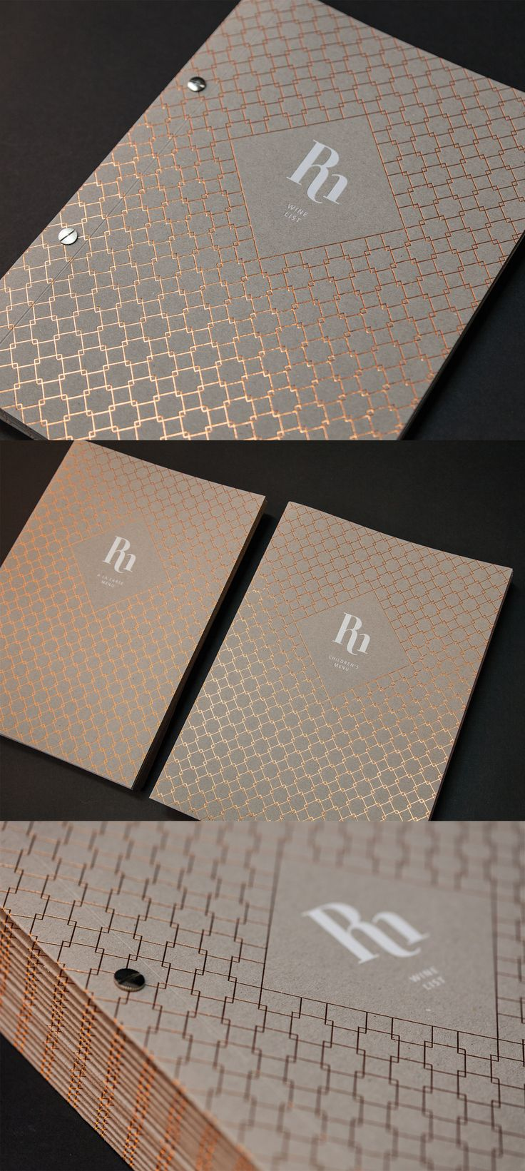 Luxury Menus and Branding, GFSmith Nomad Rough, copper foil, printed white