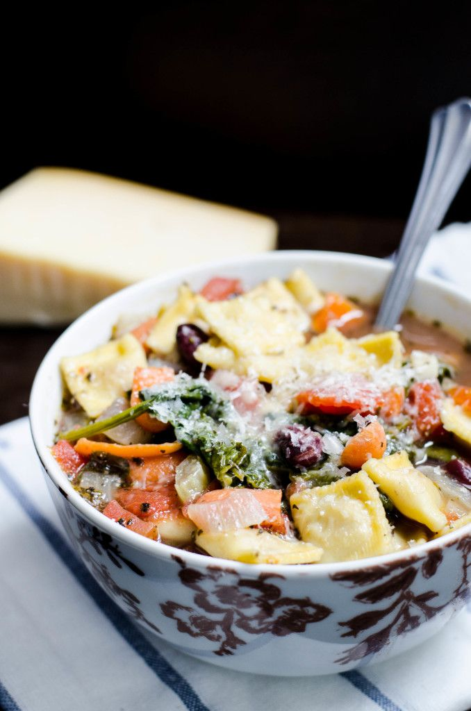 Vegetable ravioli soup to warm you up on a cool day!