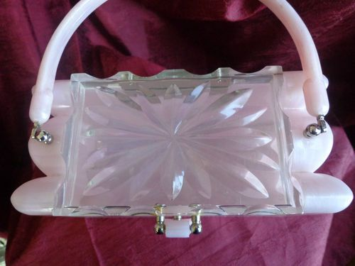 Vintage Unique Pink Plastic Purse With Scalloped Ends Clear Floral LID | eBay