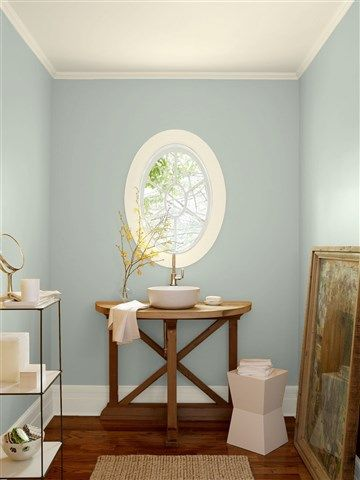 Look at the paint color combination I created with Benjamin Moore. Via @benjamin_moore. Wall: Tranquility AF-490; Trim: Opaline OC-33; Ceiling: Opaline OC-33.