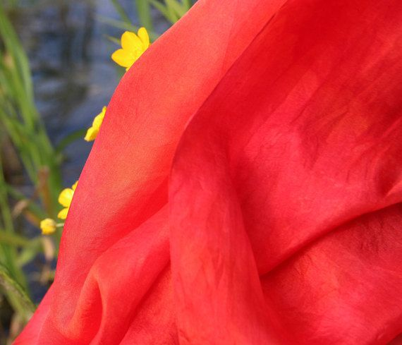 Red Silk Scarf Hand Dyed Silk Scarf Women's Silk Scarves Hand Painted Red Neck Silk Scarf Gift for Mom Mother birthday gift Holiday gift