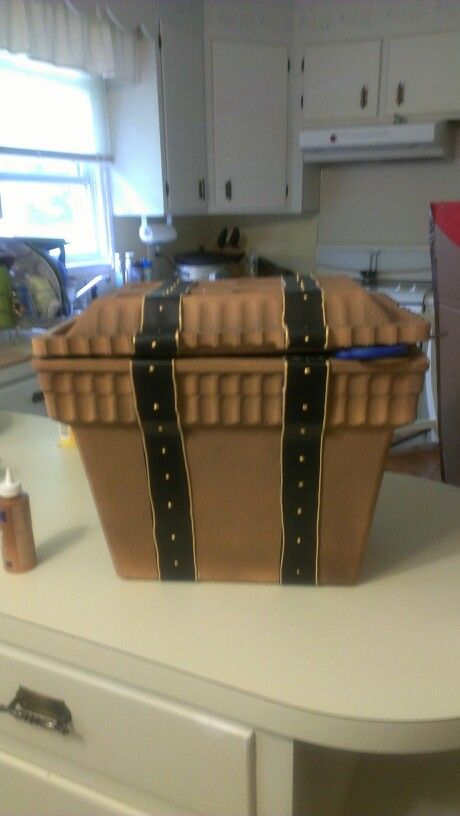Diy treasure chest out of a stryofoam cooler. used thumb tacks dont do they fall out next time hot glue