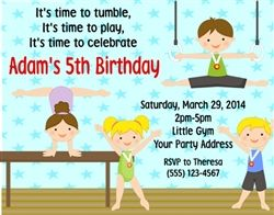 Personalized Children's Birthday Party Invitations - Boys and Girls Gymnastics - Gymnasts