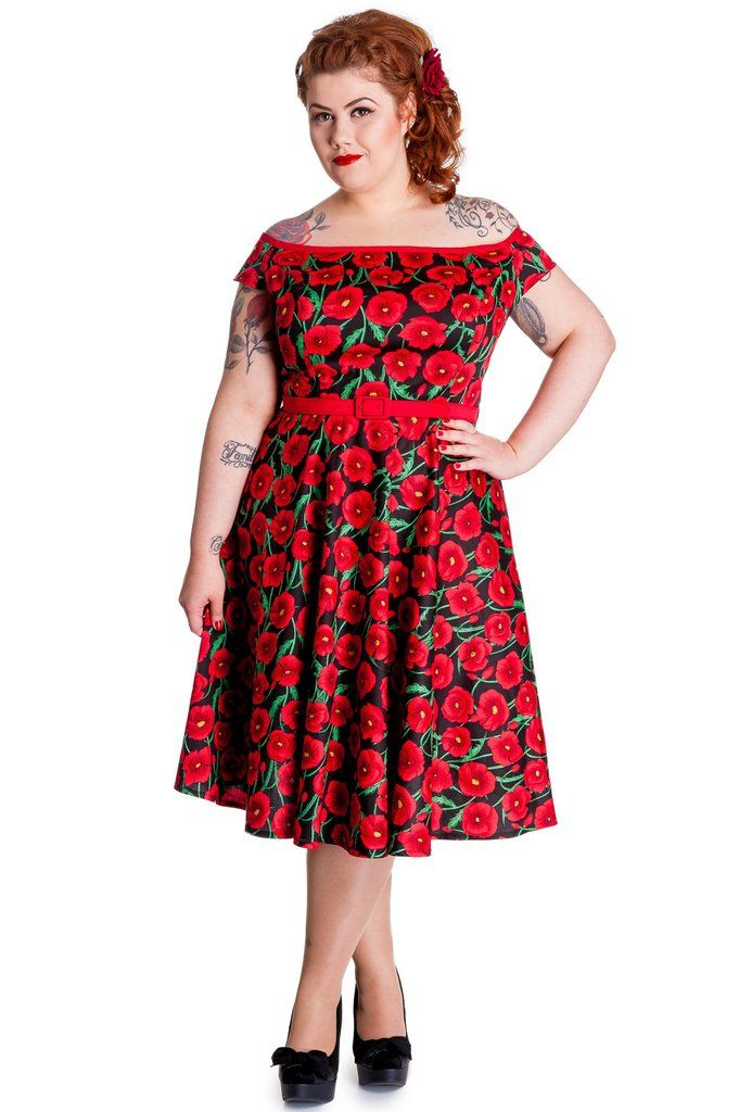 f318f220eb490 Plus Size 50 s Cordelia Red Poppy Floral Gorgeous Red Carpet Party Dress