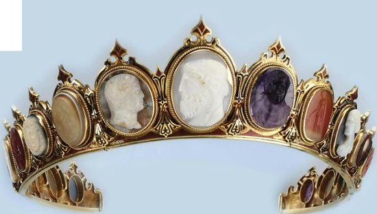 The Secret Garden    Diadem designed as a line of graduated cameos carved in various hardstones, amethyst, carnelian, and agates set within a red and blue enameled mount. Cameos circa 1860.    sphotos-b.xx.fbcd...