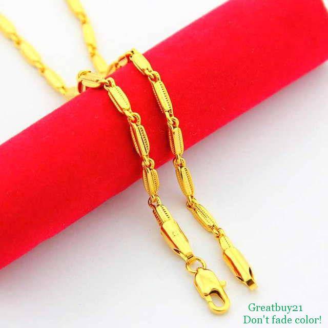 Ожерелье 24KN-057 бесплатная доставка желтое золото гальваническим 2.5 мм цепи ( 47 см ) 24 К ювелирные изделия оптовая продажа свадебные подарки ко дню рождения