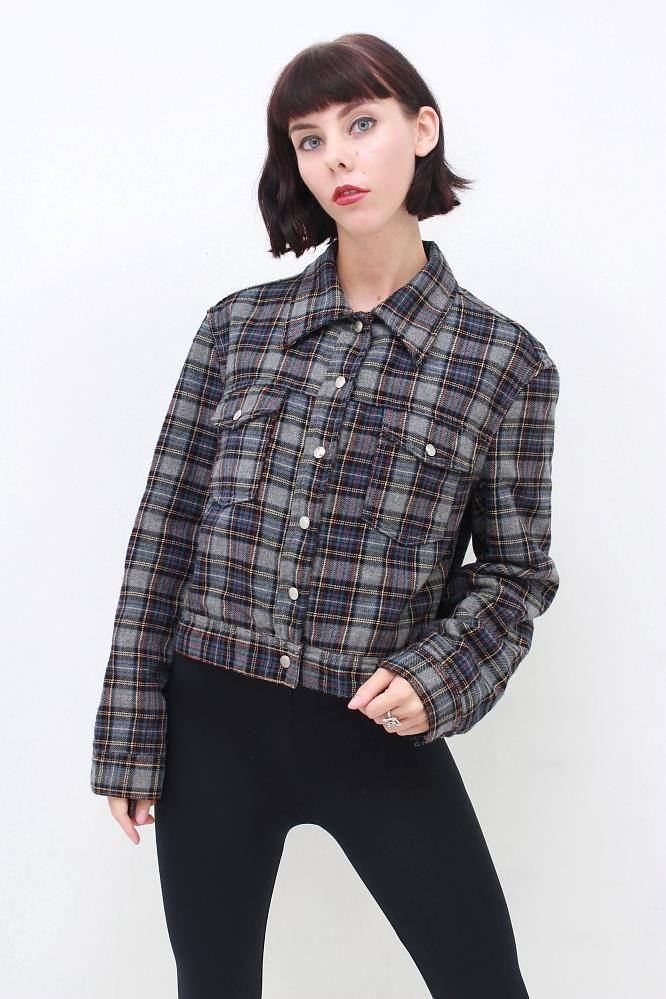 UNITED COLORS OF BENETTON 90's Grunge Plaid Tartan Wool Cropped Jacket Coat AUS